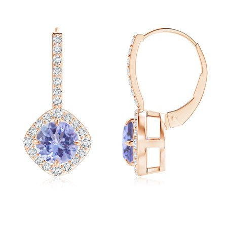 Claw-Set Tanzanite and Diamond Leverback Halo Earrings in 14K Rose Gold (6mm Tanzanite) - SE1042TD-RG-A-6