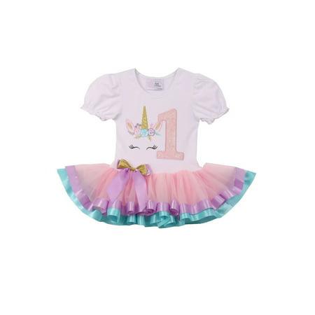 Girls White Pink Number Unicorn Banded Hem Tutu Birthday - Girls Pink Tutu Dress