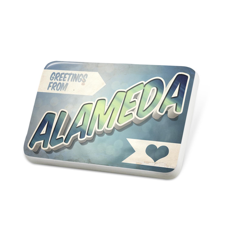 Porcelein Pin Greetings from Alameda, Vintage Postcard Lapel Badge – NEONBLOND