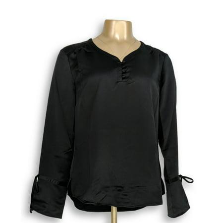 Isaac Mizrahi Live! Women's Top Sz 6 Tall Cuff Blouse with Black A295874 Jane Tall Cuff