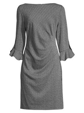 Jacquard Tulip Ruched Sheath Dress