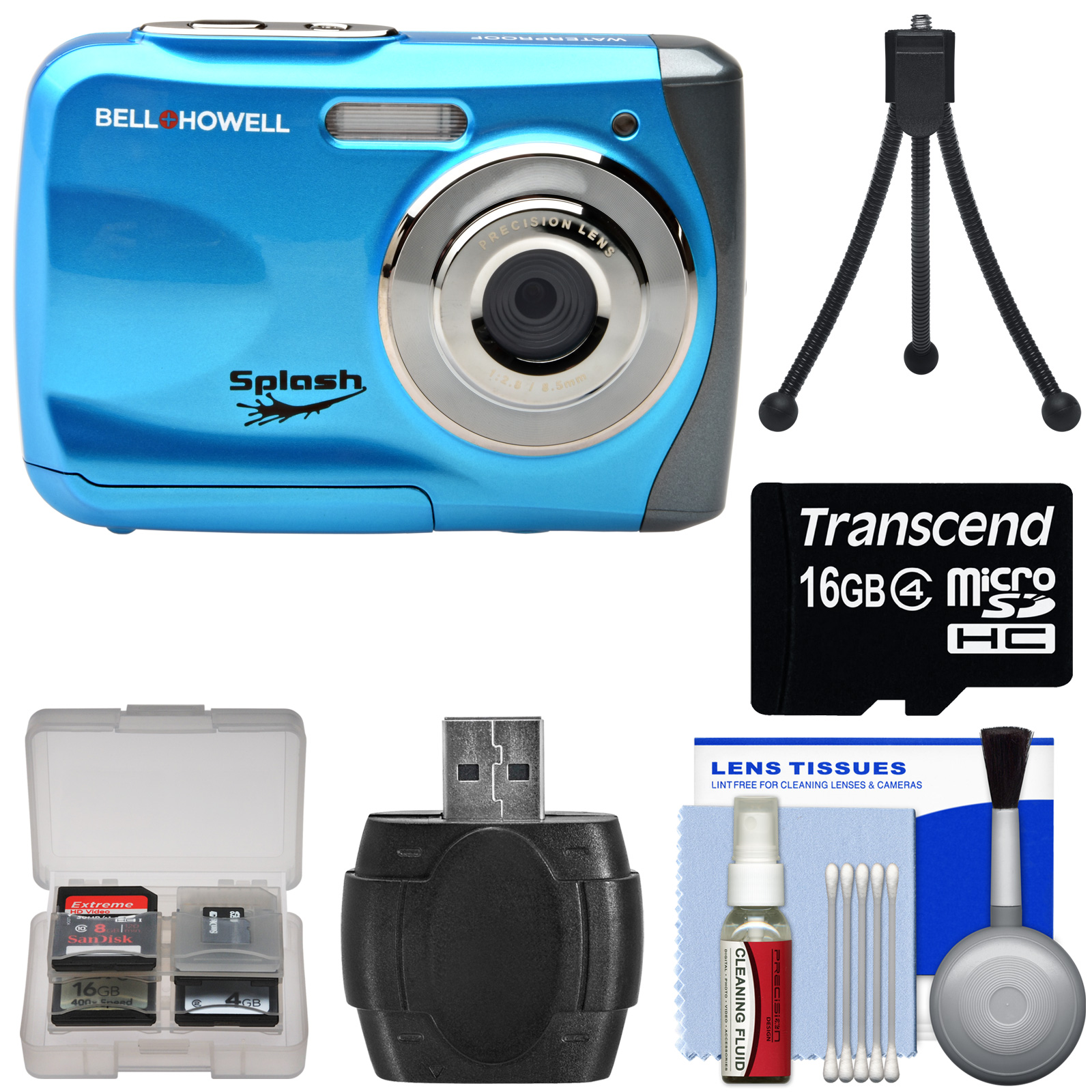Bell & Howell Splash WP7 Waterproof Digital Camera (Black) with 16GB Card + Tripod + Kit