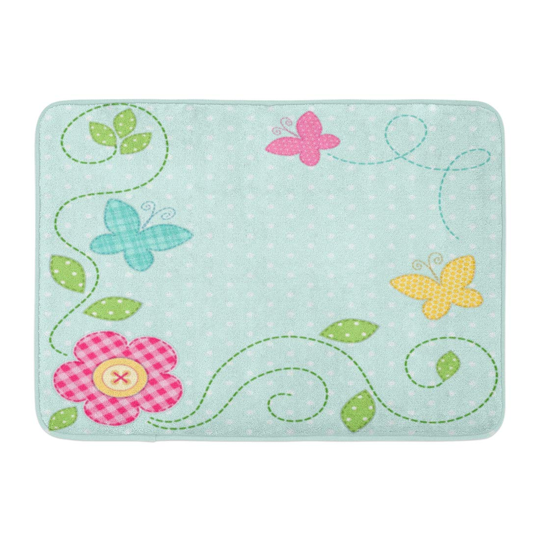 GODPOK Shabby Dot Cute Retro Spring As Patch Applique of Flowers and Butterflies Baby Patchwork Rug Doormat Bath Mat 23.6x15.7 inch