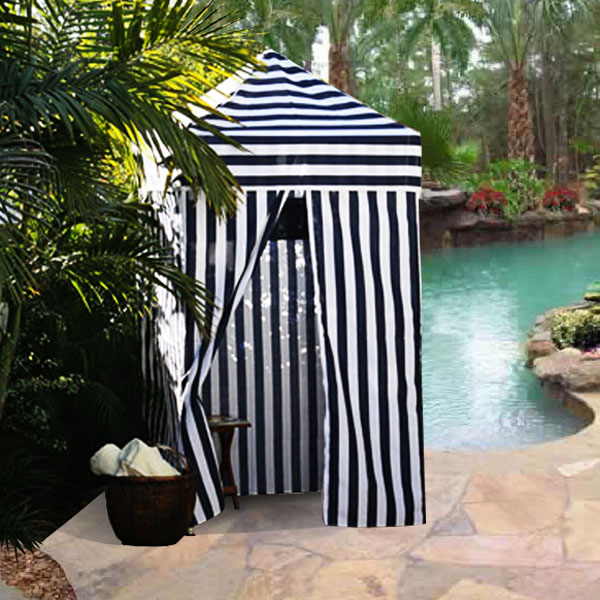Apontus Striped Portable Changing Cabana Tent Patio Beach Pool Navy White : pool changing tent - memphite.com