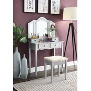 Roundhill Sanlo Silver Wooden Vanity, Make Up Table and Stool Set, Silver