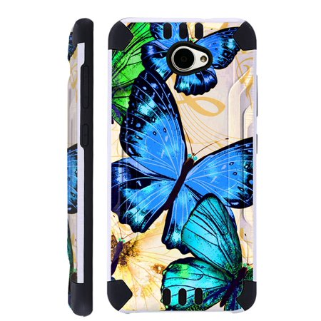 For Huawei Ascend XT2 / Huawei Ascend XT 2 / Huawei Elate 4G Case Brushed Metal Texture Hybrid TPU KombatGuard Phone Cover (Blue Butterfly)](huawei ascend g700 cover)