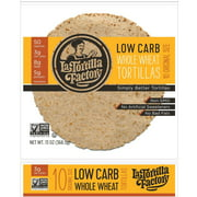 (Pack of 10) La Tortilla Factory Low Carb, High Fiber Tortillas, Made with Whole Wheat, Original Size, 10 Count Each