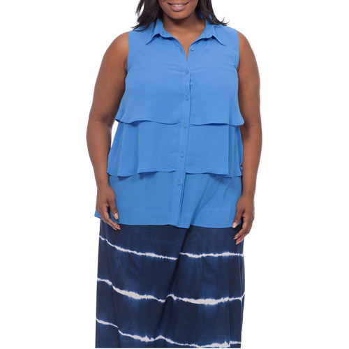 Women's Plus-Size Tiered Ruffle Tank