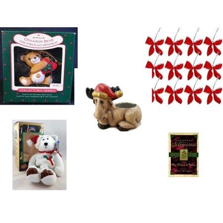 Christmas Fun Gift Bundle [5 Piece] - Hallmark Cinnamon Bear Porcelain  Ornament - Set of 12 Red Velvet White Trim Wire Bows - Creation House Co., LTD Sad  Moose Planter - Limited Treasures