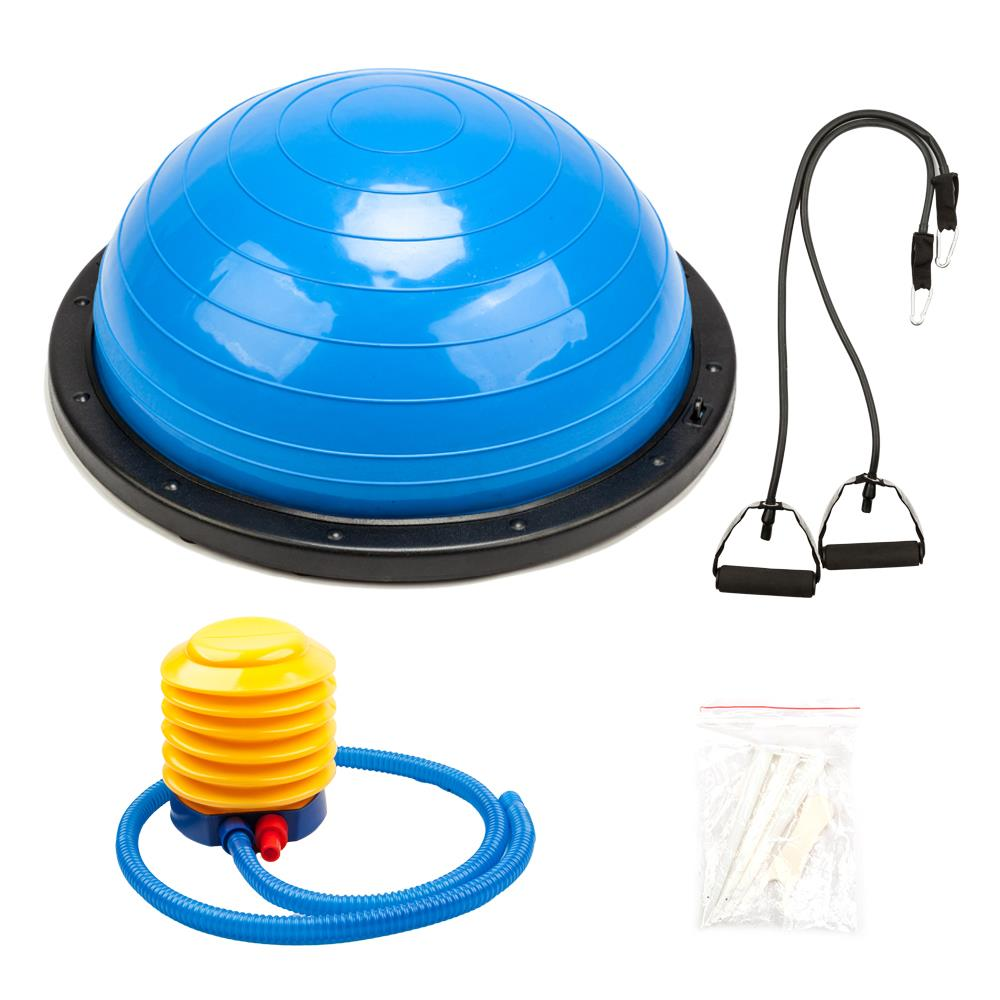 Ktaxon 23 inch Balance Trainer Ball, Exercise Yoga Hemisphere with Air Pump and Resistance Bands, for Home Gym Fitness Workout Strength Stability Training