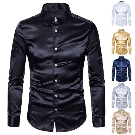 Mens Satin Silk Dress Shirt Long Sleeve Slim Business Formal Casual Top Classic