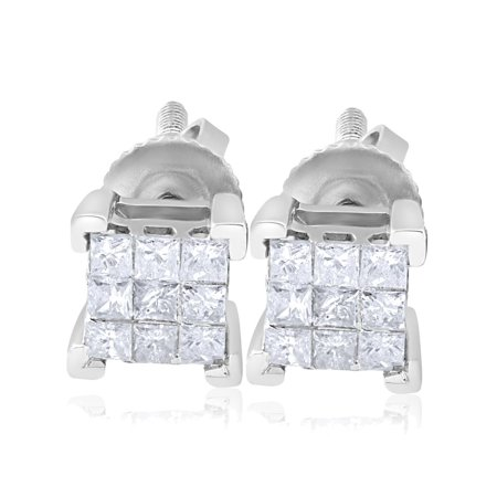 1/3ct Diamond Princess Cut Screw Back Studs Womens Earrings 10k White Gold 5.5mm