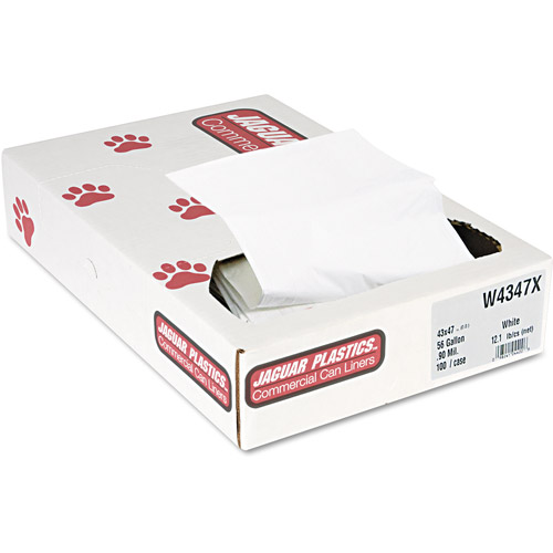 Jaguar Plastics Industrial Strength White Commercial Can Liners, 56 gal, 100 ct