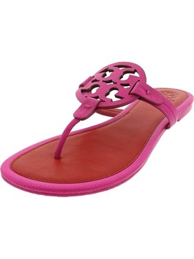 Tory Burch Women's Miller Tumbled Leather Imperial Pink / Brilliant Red Ankle-High Sandal - 8.5M