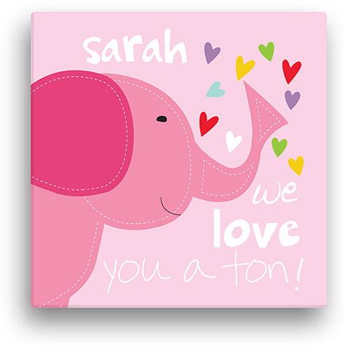 "Sandra Magsamen Personalized Elephant Canvas Wall Art, 12"" x 12"", Pink"