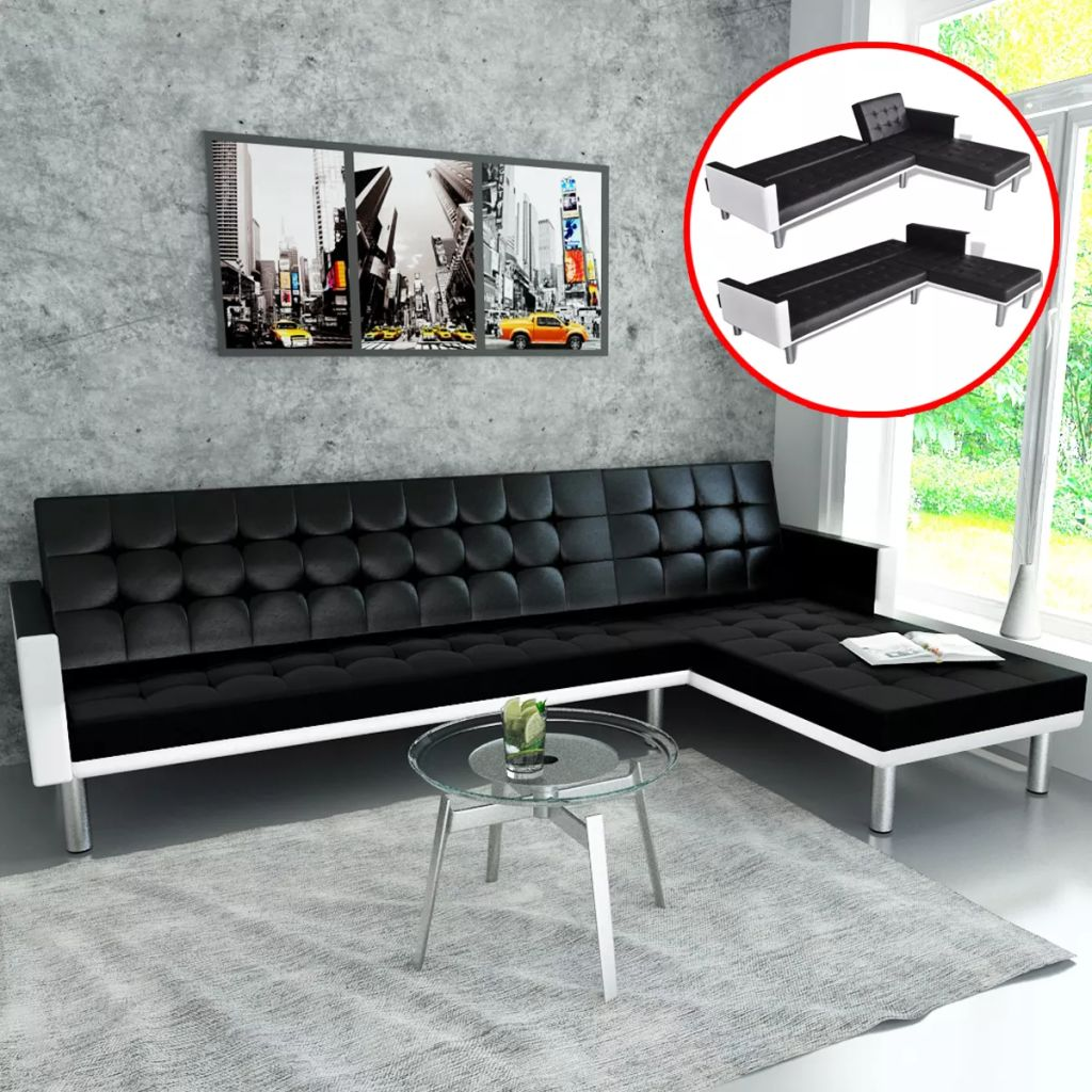 L-shaped Sofa Bed Artificial Leather Black and White