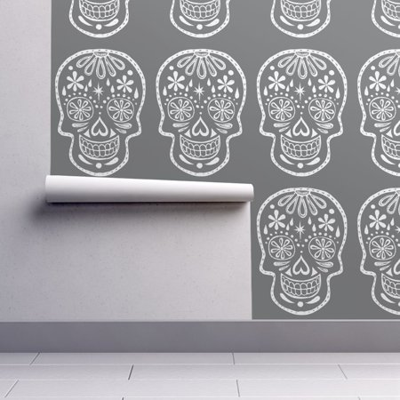 Peel-and-Stick Removable Wallpaper Sugar Skulls Chalkboard Skulls Halloween - Evil Halloween Wallpaper