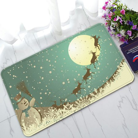 PHFZK Christmas Theme Doormat, Winter Holiday Merry Christmas Happy Snowman and Reindeer Doormat Outdoors/Indoor Doormat Home Floor Mats Rugs Size 30x18 inches](Winter Holiday Themes)