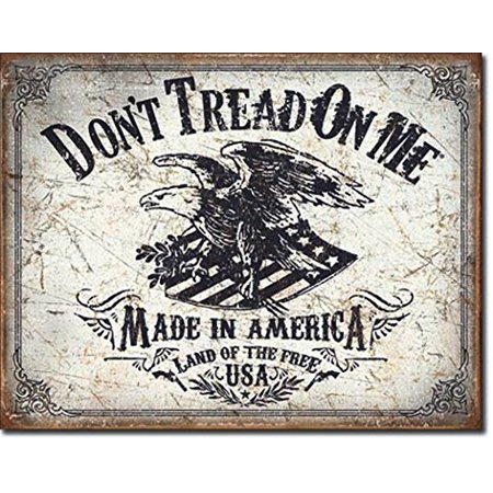 - Don't Tread On Me Made In America Land Of The Free USA Distressed Look Tin Collectible Sign Gift
