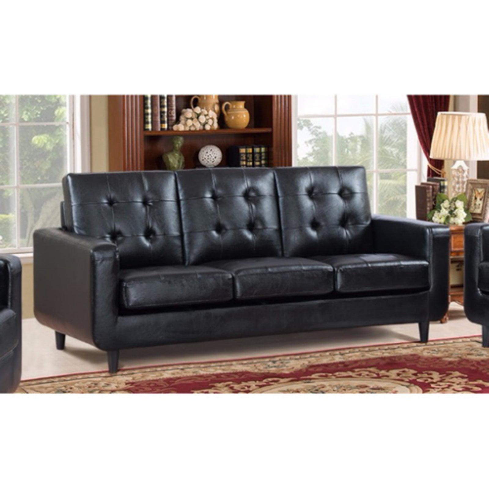 Comfortable black finish sofa with velvety cushion walmart com