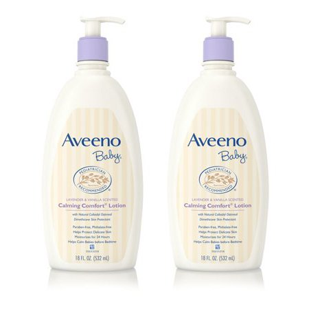 (2 pack) Aveeno Baby Calming Comfort Moisturizing Non-Greasy Lotion, 18 fl. oz