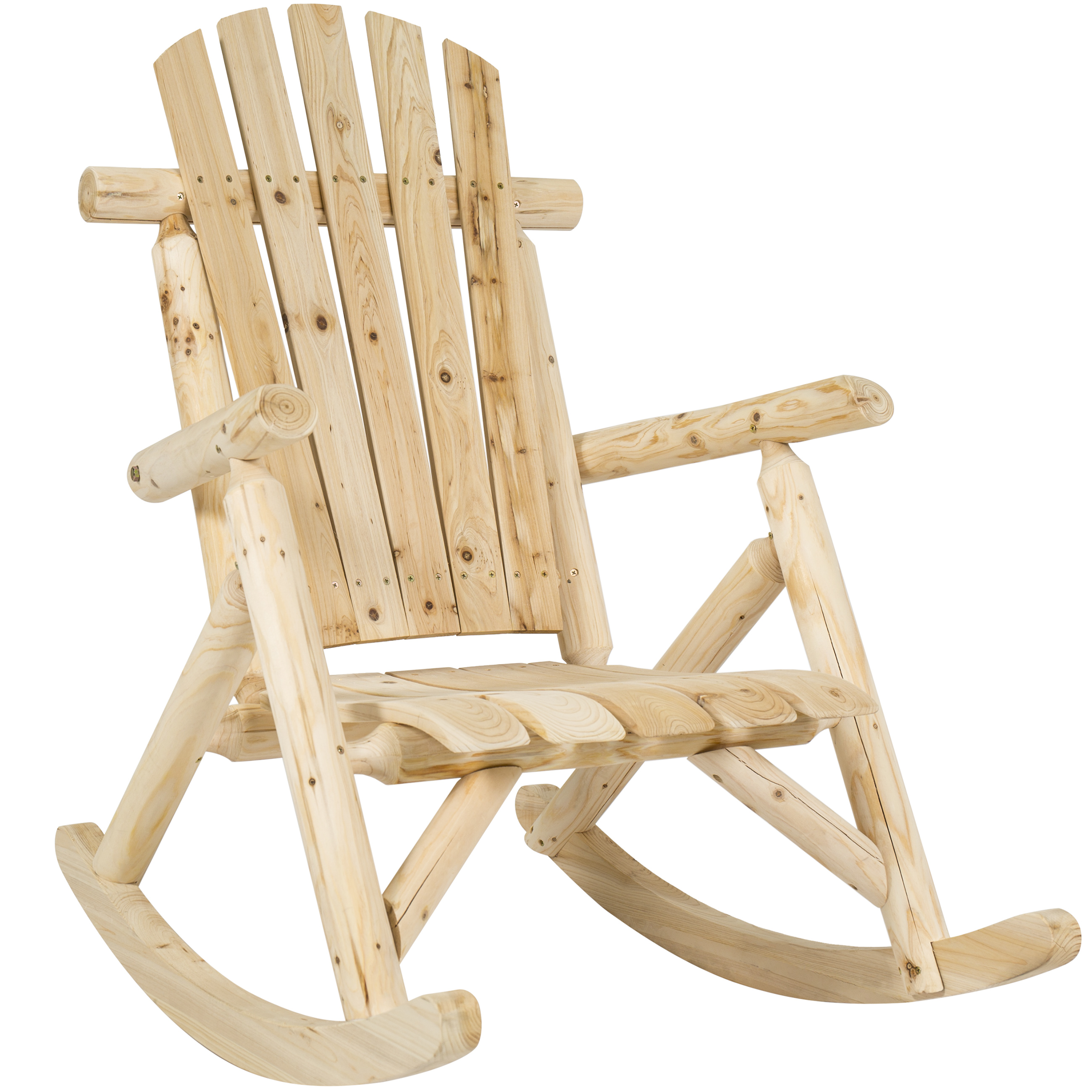Best Choice Products Wood Log Rocking Chair Single Rocker Natural by Best Choice Products