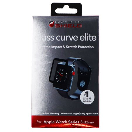 best service cd3e8 78c9f ZAGG Glass Curve Elite Screen Protector for 42mm Apple Watch Series 3  -Clear/Blk (Refurbished)