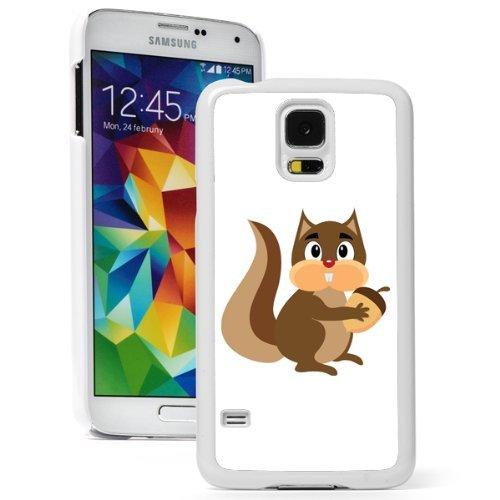 Samsung Galaxy (S5 Mini) Hard Back Case Cover Cute Squirrel with Acorn (White)