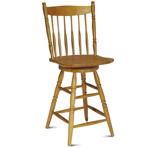 "Spindle-Back 24"" Swivel Counter Stool, Golden Oak Finish"