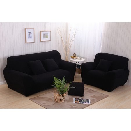 Settee Sofa Cover (Sofa Couch Stretch Covers Elastic Fabric Home Settee Protector Three Seater Black 190~230Cm)