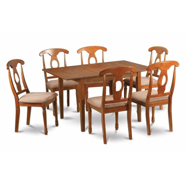 East West Furniture MLNA7-SBR-C Milan 7PC Set with Rectangular Table featured 12 in butterfly leaf and 6 microfiber upholstered seat chairs