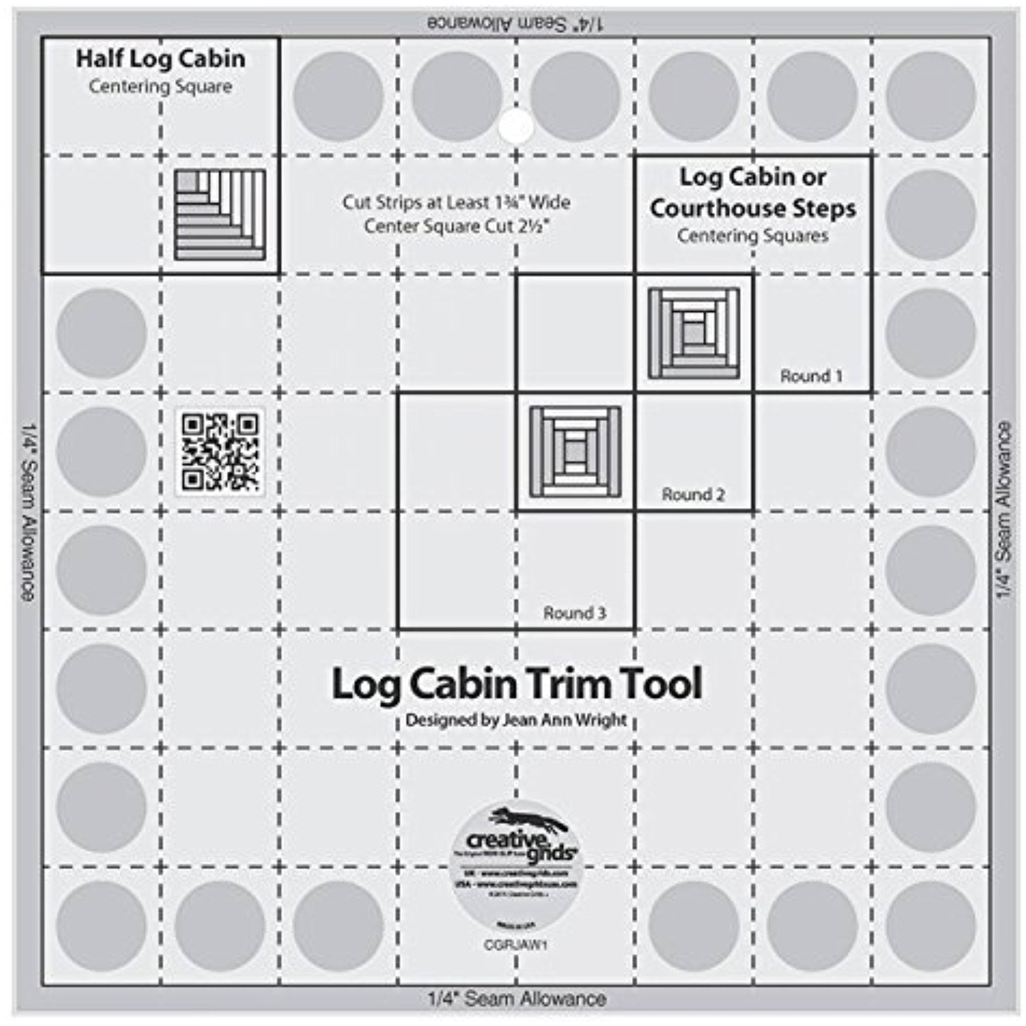 "Creative Grids Log Cabin Trim Tool for 8"" Finished Blocks Ruler"