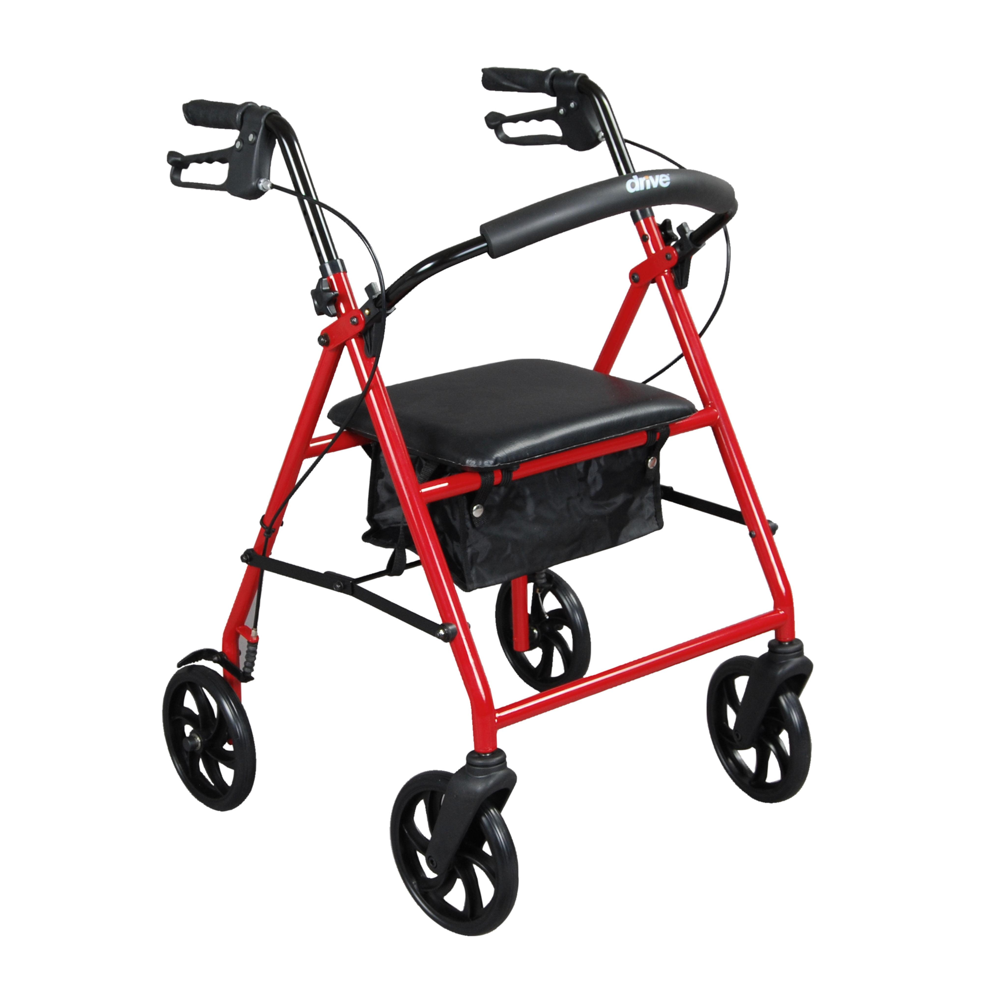 "Drive Medical Steel Rollator Rolling Walker with 8"" Wheels, Red"