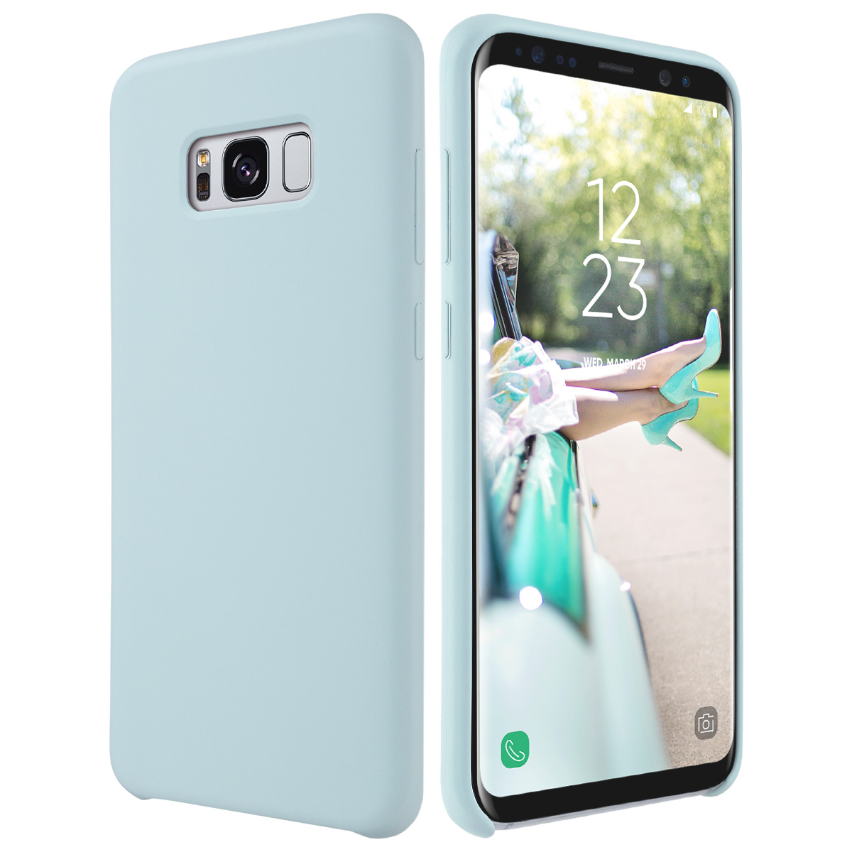 Galaxy S8 Case, ULAK [Silicone Slim] - [Shock Absorbing] Liquid Silicone Gel Rubber Shockproof Case Cover with Soft Microfiber Cloth Lining Cushion for Samsung Galaxy S8 2017 Release