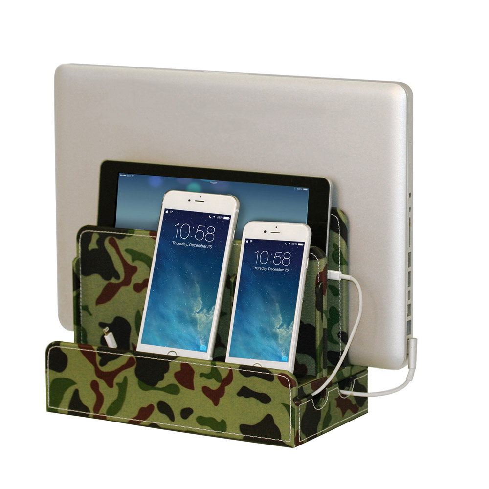 G.U.S. Multi-Device Charging Station Dock & Organizer, for Laptops, Tablets, and Phones - Strong Build, Camo Canvas