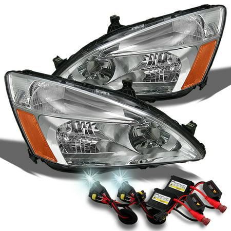 Fits 03-07 Honda Accord Amber Chrome Clear Headlights Lamps+ Slim Ballast 6K HID
