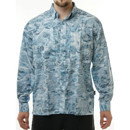 Aqua Design Mens Long Sleeve Cargo Max Camo Flats Fishing Travel (Mens Flat Top)