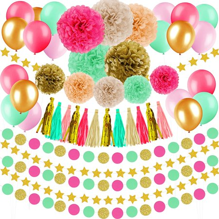48 Pcs Wedding Baby Shower Birthday Decorations Gold Pink Mint Green Peach Ivory Tissue Paper Pom Poms Flowers Tassel Garlands Star Garlands