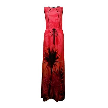 Sangria Women's Faux-Drawstring Tropical-Print Maxi Dress (6, Coral/Multi) for $<!---->