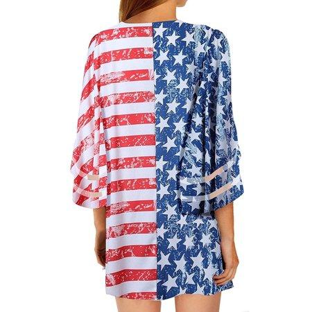 Women's American Flag Cardigan Mesh Panel Blouse 3/4 Bell Sleeve Loose (New Orleans Sunglasses)
