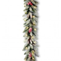 National Tree DUF-300-9A-1 Garland With Snow, Red Berries, Cones And Clear Lights-packed Reshippable Brown Box