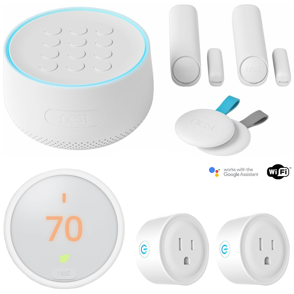 Nest Secure Alarm System Starter Pack (H1500ES) w/ Thermostat Bundle Includes, Nest T4000ES Learning Thermostat E (White) and Deco Gear 2 Pack WiFi Smart Plug