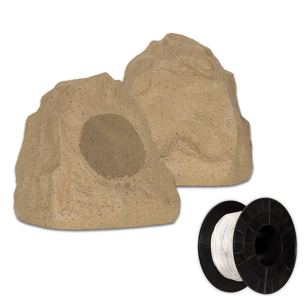 Theater Solutions 2R4S Outdoor Sandstone Rock 2 Speaker Set with Wire for Deck Pool Spa Patio Garden