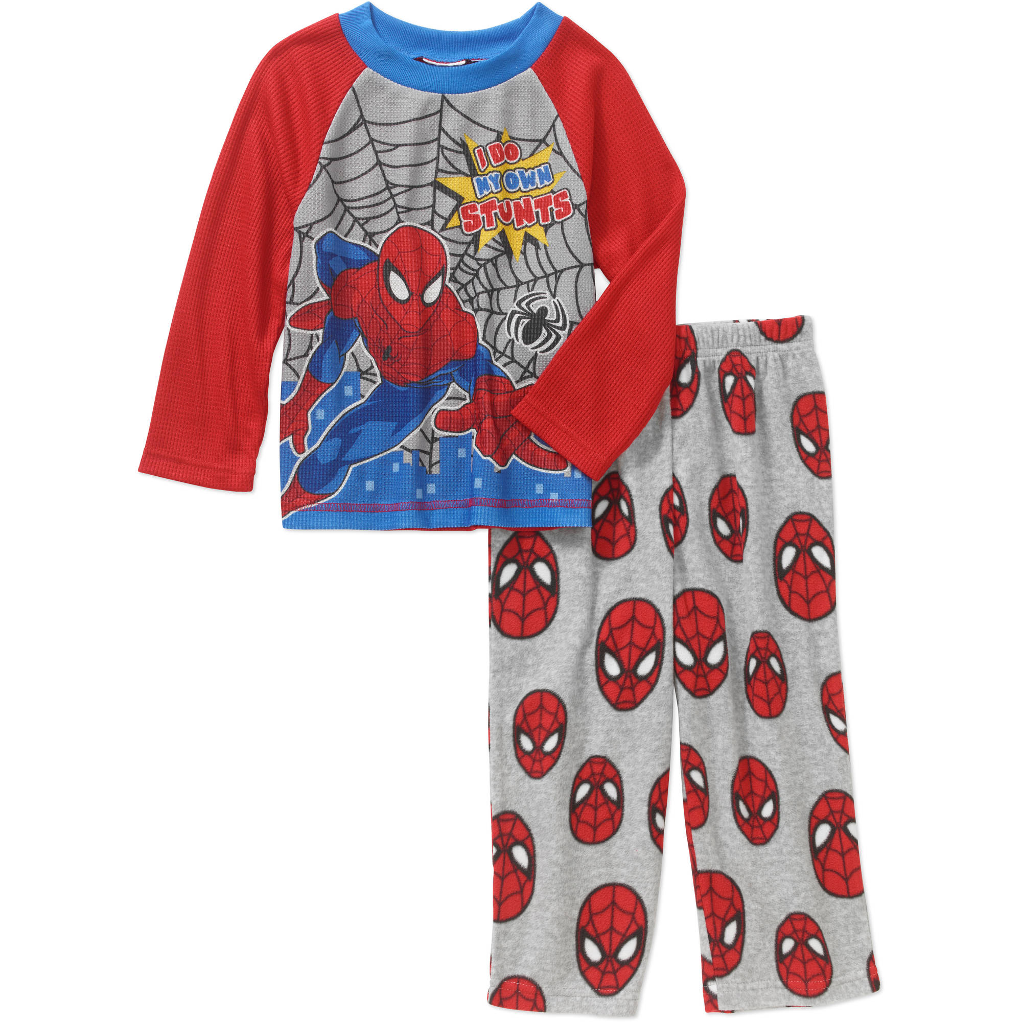 Spider-Man Toddler Boys' Long Sleeve Top with Fleece Pants Pajama 2pc Set