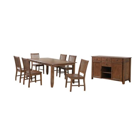 Awesome Sunset Trading Dlu Br4272 C60 Amsb8Pc Simply Brook Extendable Dining Table Set With Sideboard Amish Brown 7 Piece Beutiful Home Inspiration Aditmahrainfo