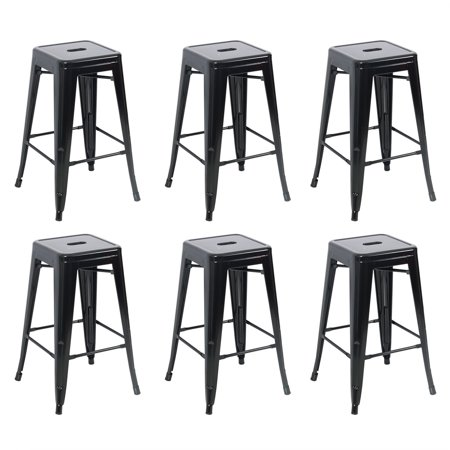Belleze 26 Inch Metal Counter Vintage Bar Stools Set Of 6 Black