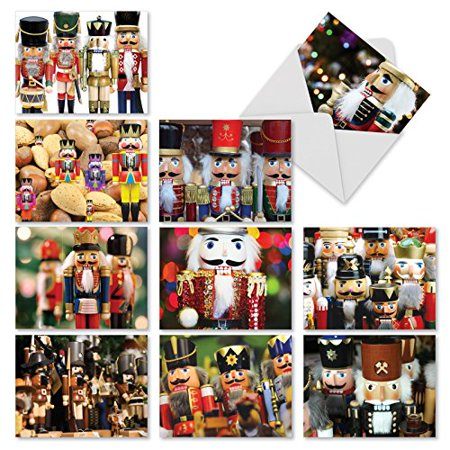 'M3269 MERRY CRACKERS' 10 Assorted All Occasions Note Cards Featuring Photos Of Holiday Nutcrackers with Envelopes by The Best Card Company ()