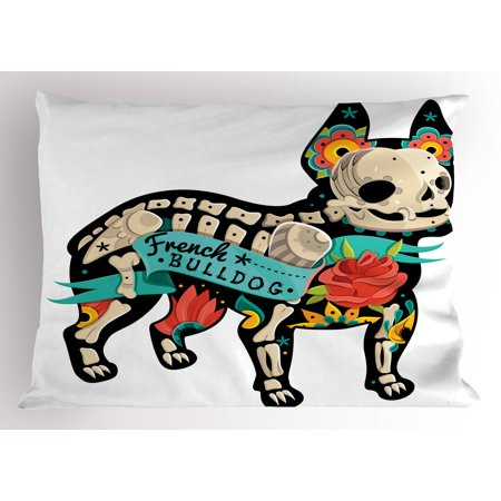 Bulldog Pillow Sham Gothic Artwork Puppy Silhouette with Skeleton and Colorful Flowers French Bulldog, Decorative Standard Size Printed Pillowcase, 26 X 20 Inches, Multicolor, by Ambesonne](Puppy Skeleton)