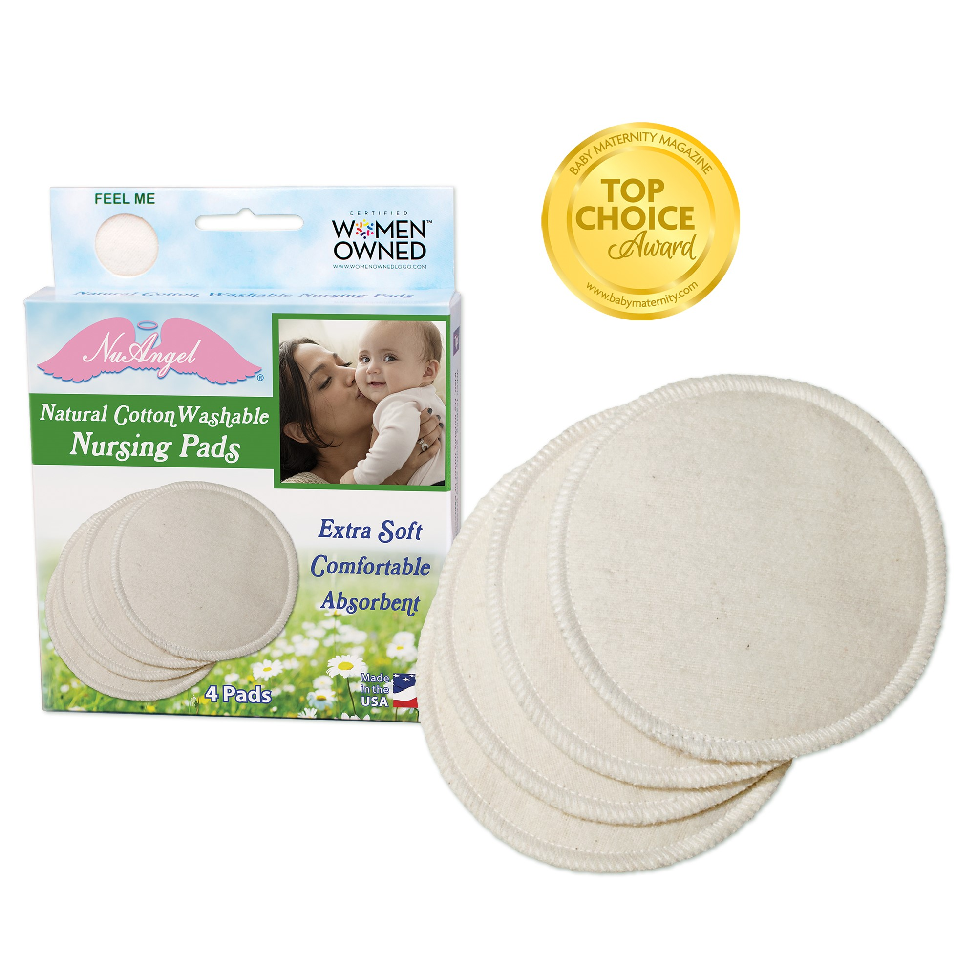 NuAngel Natural Cotton Washable Nursing Pads, 4 ct