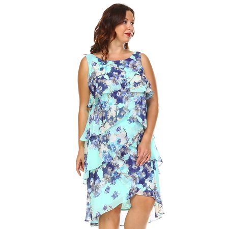 SLNY Women\'s Plus Size Floral Layered Chiffon Dress - Mint Multi - 14W